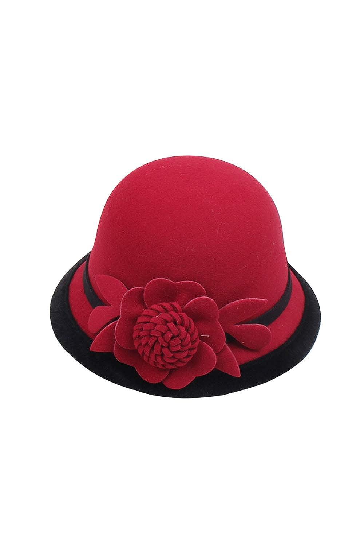 Cloche Round Hat for Women Beanie Flower Dress Church Elegant British UKZon83016-Black-F