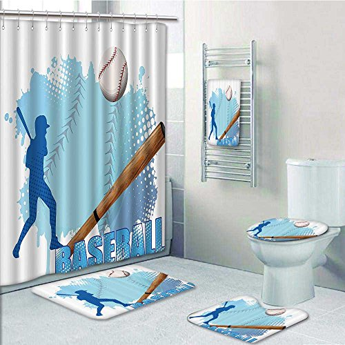 Homesonne 5 Piece Bath Rug Set,Silhouette of Baseball Player with Basic Game Ics Kicking with Sports Print bathroom rugs shower curtain/rings and Both Towels