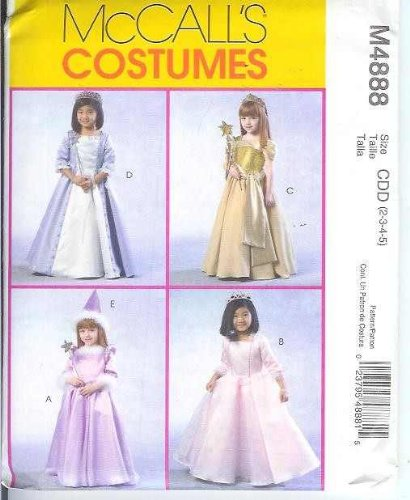 McCall's M4888 FAIRY PRINCESS, QUEEN, MEDIEVAL TODDLER/CHILDREN/GIRLS' SEWING PATTERN KIDS' SIZE: CDD (2-3-4-5)