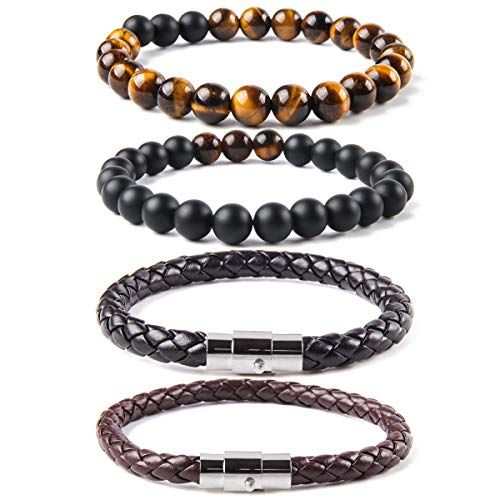 Elejolie 4 Pcs Bead Bracelet for Men Women Distance Braided Leather Cuff Wrap Stone Beaded Bracelets Set Black and Brown 8 inches