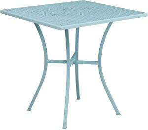 """Flash Furniture Commercial Grade 28"""" Square Sky Blue Indoor-Outdoor Steel Patio Table"""