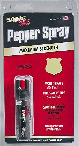 Cheap SABRE Red Pepper Spray – Police Strength – Compact Size with Clip (Max Protection – 35 shots, up to 5x's more) – Super Savings Pkg of 3