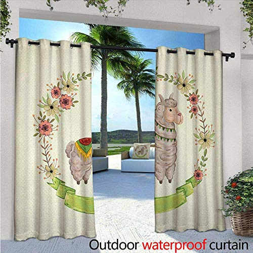 Llama Fashions Drape W96 x L84 Colorful Watercolor Floral Wreath and South American Animal Illustration with Banner Outdoor Curtain Waterproof Rustproof Grommet Drape Multicolor