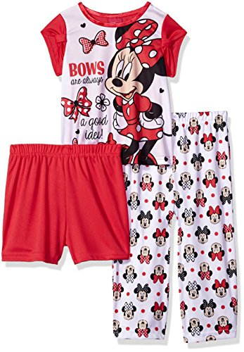 Disney Toddler Girls' Minnie Mouse 3-Piece Pajama Set, Minnie Red, 4T -
