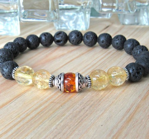 Men's amber bracelet with Celtic knot caps, citrine, lava rock, Healing crystal energy, Reiki jewelry, gemstone silver mala - Healing & ()