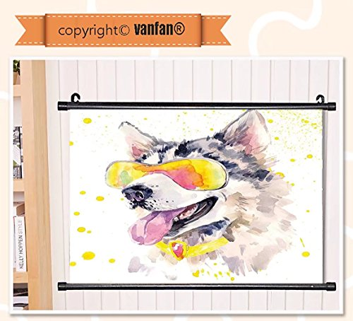 vanfan Wall Scroll Poster- Animal Funny Husky Dog with Sunglasses Humoro Wall Art Waves Paiting on Canvas, Pictures Wall Hanging Canvas Scroll Paintings For Living - Phase Sunglasses Dragon