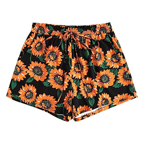 Jumaocio Shorts Women's Sunflower Print High Waist Short Pants Casual Beach Shorts Tie Bow Summer Beach Elastic Shorts Black