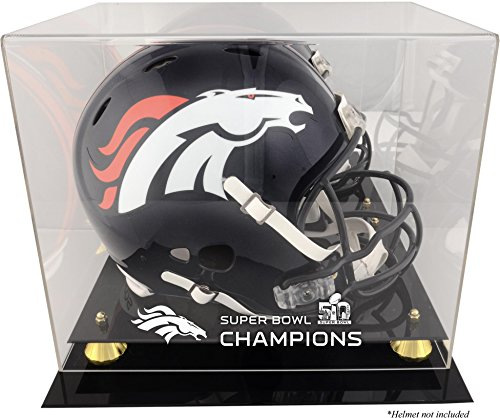 Sports Memorabilia Denver Broncos Golden Classic Helmet Super Bowl 50 Champions Logo Display Case - Football Helmet Logo Display Cases