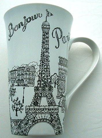 Bonjour Paris Eiffel Tower & Sights Tall Latte Fine China Mug (Eiffel Tower Dvd Tower)