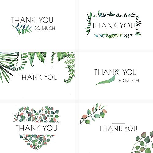 Floral Thank You Cards by White Lacuna - 36 Assorted Bulk Set with Easy Adhesive Envelopes and Bonus Stickers - Blank on Inside - Perfect for Baby, Bridal Shower, Wedding, Birthday and Graduation