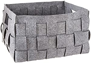 Honey Can Do STO 04894 Large Woven Felt Storage Bin, Dark Grey, 14.5 Inches  X 18 Inches X 11 Inches