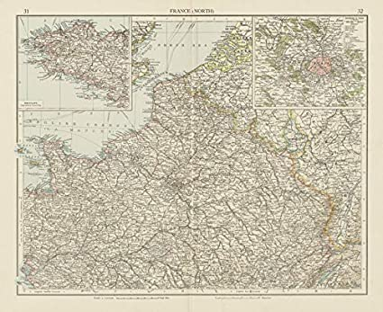 Old Map Of France.Amazon Com France North Paris Environs The Times 1900 Old