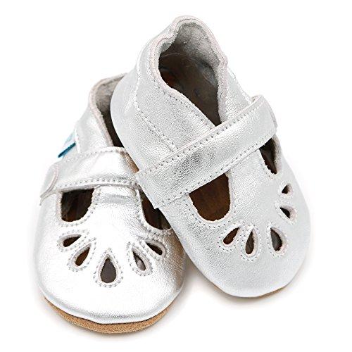 Dotty Fish - Weiche Baby Lederschuhe - T-bar Schuhe für Mädchen - 0-6 monate, 6-12 monate, 12-18 monate, 18-24 monate Silber Mädchen