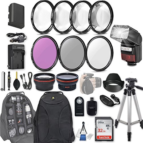58mm 28 Pc Accessory Kit for Canon EOS Rebel 70D, 80D DSLRs with 0.43x Wide Angle Lens, 2.2x Telephoto Lens, LED-Flash, 32GB SD, Filter & Macro Kits, Backpack Case, and More by 33rd Street