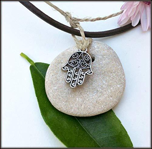 Hag Stone Necklace, Protection Luck Hagstone Pendant With Hamsa Cameo Medallion ()