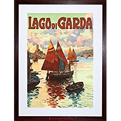 TRAVEL AD SHIPS HARBOUR COAST LAGO DI GARDA LAKE ITALY FRAMED PRINT F97X6857