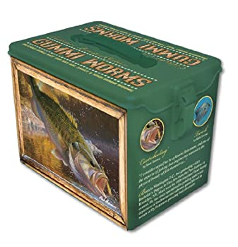 Bass Fishing Tin - This collector gift tin is the perfect gift for the outdoorsmen, or fisherman in your life. Makes a great gift for Father's Day. This novelty collector gift tin also makes a great stocking stuffer. Get hooked with the Largemouth Bass Collector tin. Includes 2 packages of Sour Gummi Worms.