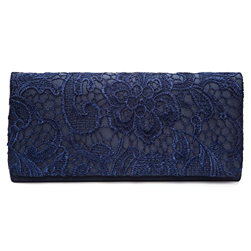 Chichitop Women's Elegant Floral Lace Evening Party Clutch Bags Bridal Wedding Purse Handbag,Navy Blue