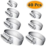 7 32 stainless steel cable - Selizo 40Pcs Hose Clamp Including 7 Sizes Adjustable Pipe Tube Clamps 304 Stainless Steel Hose Clips