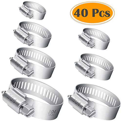 (Selizo 40Pcs Hose Clamp Including 7 Sizes Adjustable Pipe Tube Clamps 304 Stainless Steel Hose Clips)