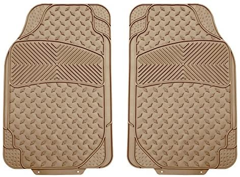 FH Group F11307 Semi-Custom Trimmable Vinyl Floor Mats (Beige) Front Set- Universal Fit for Cars Trucks and SUVs