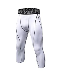 Luxsea Men's 3/4 Sport Leggings Quick Dry Yoga Workout Running Fitness Stretch Tights Pants White