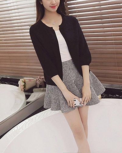 3 mince manteau couleur petit unie Cardigans 4 paragraphe Femme Noir manche court 0zwvE