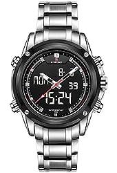 NAVIFORCE Men's Analog Digital Waterproof Casual Army Military Sports Stop Wrist Watch (Silver White)
