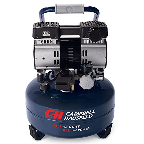 Quiet Air Compressor, 6 Gallon Pancake, Half the Noise, 4X Life, All the Power (Campbell Hausfeld DC060500) ()