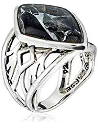 Barse Sterling Silver and Black Silver Matrix Obsidian Ring