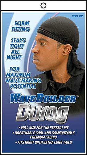 (WaveBuilder Premium Stretch Durag for Smooth and Uniform Hair Waves, Black)