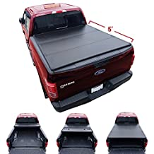 Galaxy Auto Hard Tri-Fold For 2016-18 Toyota Tacoma 5' Bed (Fleetside Models Only) - Black TriFold Truck Bed Tonneau Cover