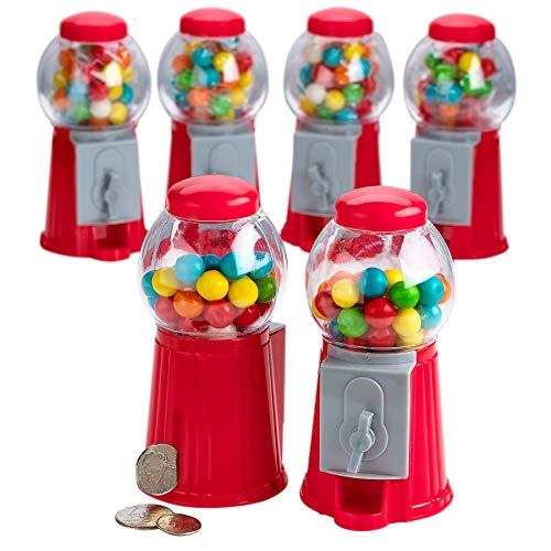 Kicko 5 Inch Gumball Machine - 6 Pieces Classic Candy Dispenser - Perfect for Birthdays, Kiddie Parties, Christmas, Novelties, Kitchen Dessert Buffet, Gift, Party Favor and Supplies