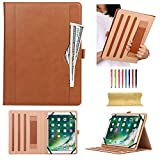 Universal Folio Case for 7.9-10.5 inch Tablet, Uliking Business PU Leather Stand Cover with Hand Strap Pencil Holder Pocket for 7.9' 8.0' 9.6' 9.7' 10.1' 10.5' Touchscreen Android iOS Tablet, Brown