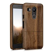 kwmobile Natural wood case for the LG Google Nexus 5X in walnut dark brown