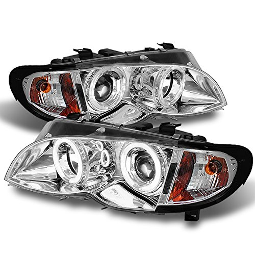 (For 02-05 BMW E46 3-Series 4 Doors Sedan Wagon Chrome Halo Ring LED Projector Headlights w-Build in Corner Lamp Set)