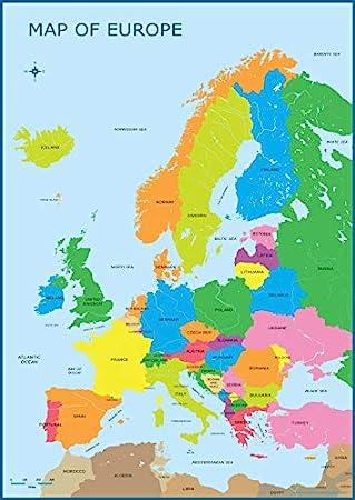 Mapa de Europa, mapa de pared, póster educativo, aprendizaje para ...