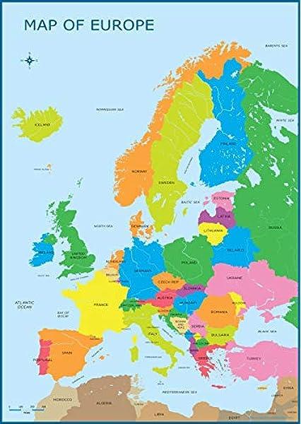 Mapa de Europa, mapa de pared, póster educativo, aprendizaje para niños, mural, tamaño A3 (30 x 42 cm), diseño de países de la UE: Amazon.es: Oficina y papelería