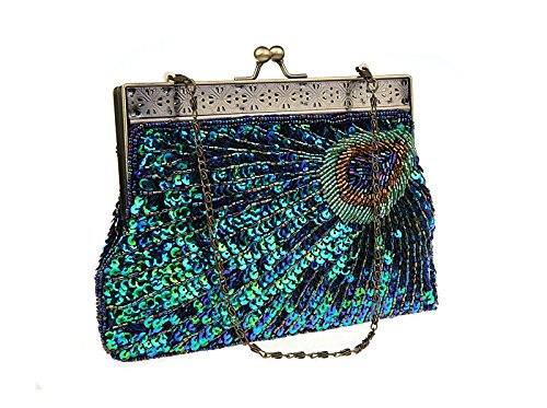 Clutch Women Bag Clutch Glitter Bags Bridal Fashion for Party Pearl Evening Sequin Peacock Blue HONGCI Wedding Bag Bag Vintage for Beaded Beaded S8XFqccw