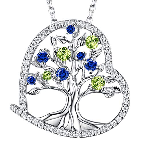 August Birthstone LC Peridot Necklace Jewelry for Women ❤️ Tree of Life ❤️ September Birthstone LC Sapphire Love Heart Sterling Silver Pendant Anniversary Birthday Gifts for Her Wife Family 20