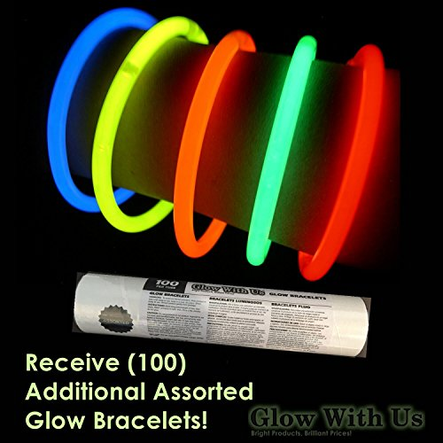 """100 22/"""" Red-White-Blue Glow Stick Necklaces+100 FREE Assorted Glow Bracelets Sturdy Packaging Glow With Us Bright Colors Connector Pre-attached Glow Sticks Bulk Wholesale Necklaces Glow 8-12 Hrs"""