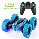Remote Control Car, 4WD RC Stunt Car Rotate 360 Double Sided Race RC Car Maketheone Electric Stunt Rock Crawler Unstoppable RTR Buggy High Speed Rc Trucks (Blue)
