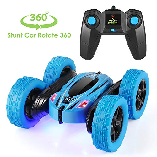 Price comparison product image Remote Control Car, 4WD RC Stunt Car Rotate 360 Double Sided Race RC Car Electric Stunt Rock Crawler Unstoppable RTR Buggy High Speed Rc Trucks (Blue)