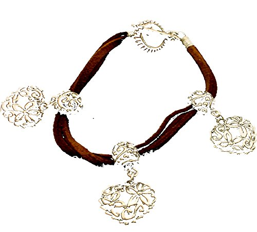 (Boutique Collection Triple Camel Suede Strand Heart Bracelet)