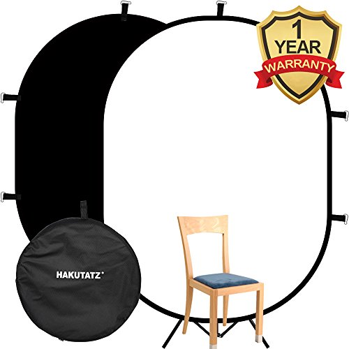 Hakutatz 5'x 7' Collapsible Reversible Chromakey Pop Out Muslin Black White Backdrop Background 2 in 1 Backdrop Panel Photography Photo Background Panel with Carrying Case