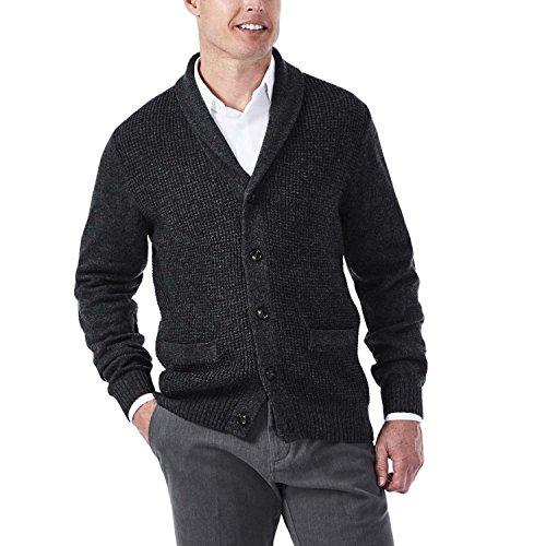 Haggar Men's Long Sleeve Shawl Collar Cardigan Sweater, Heather Grey, Medium (Sweater Collar Cardigan)