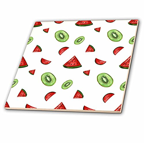 Kiwi Tile Glass (3dRose Anne Marie Baugh - Patterns - Watercolor Watermelon and Kiwi Slices Pattern - 8 Inch Glass Tile (ct_263485_7))