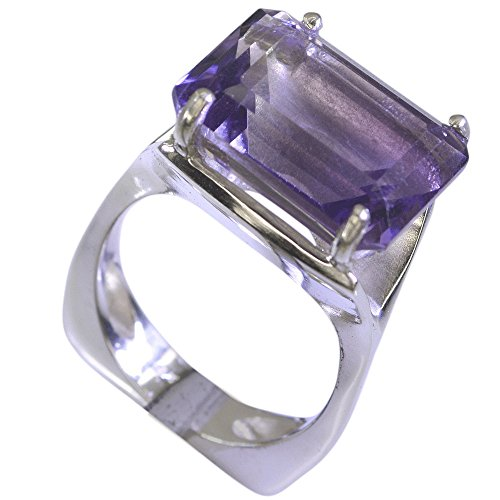 Natural Amethyst Ring For Men Sterling Silver February Birthstone Rectangle Prong Size 5,6,7,8,9,10,11,12