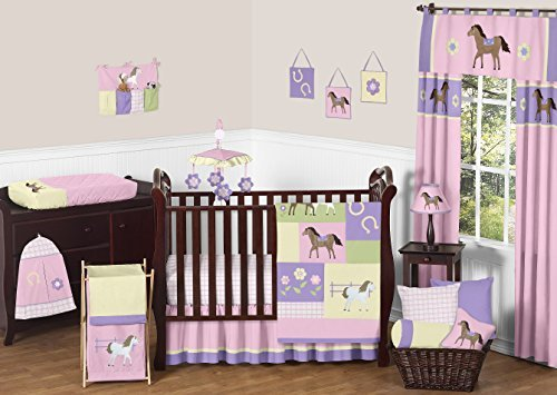 Sweet Jojo Designs 11-Piece Pretty Pony Horse Western Baby Girl Bedding Crib Set Without Bumper (Set Crib Horse)