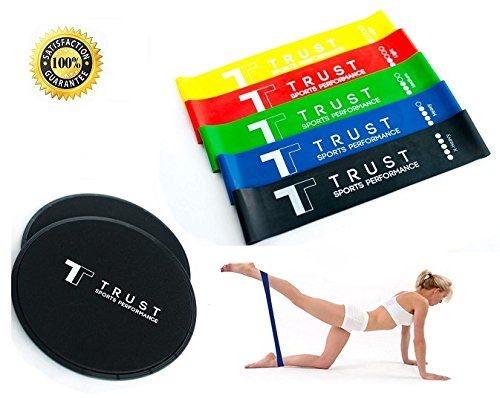 2 Professional Core Sliders & 5 Resistance Bands Set (Carry Bag Included) - Home Gym Fitness for Ab Workout and Full Body Exercises - Exercise Routine Included | Unique Gift | by Trustsporting